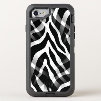 Snazzy Black and White Zebra Stripes Print OtterBox Defender iPhone 7 Case