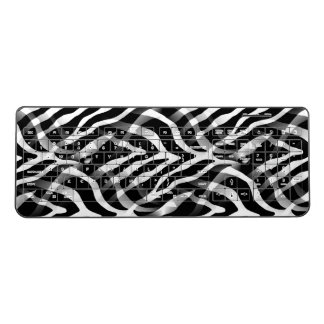 Snazzy Black and White Zebra Stripes Print Wireless Keyboard