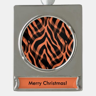 Snazzy Coral Zebra Stripes Print Silver Plated Banner Ornament
