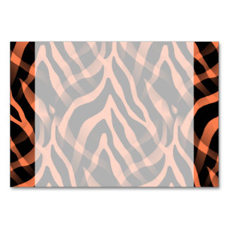 Snazzy Coral Zebra Stripes Print Table Cards