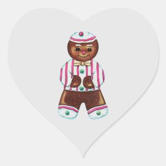 Snazzy Gingerbread Man Heart Sticker