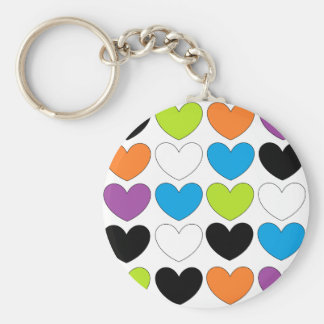 Snazzy Hearts Basic Round Button Key Ring