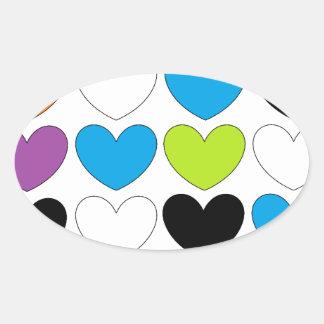 Snazzy Hearts Oval Sticker