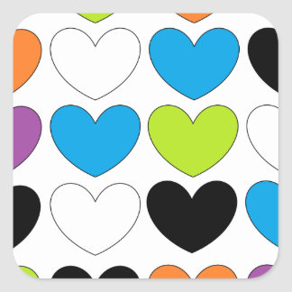 Snazzy Hearts Square Sticker