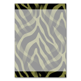 Snazzy Olive Green Zebra Stripes Print Table Cards