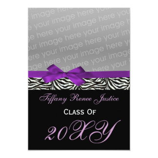 snazzy purple Graduation photo Invitation