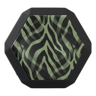 Snazzy Sage Green Zebra Stripes Print Black Boombot Rex Bluetooth Speaker