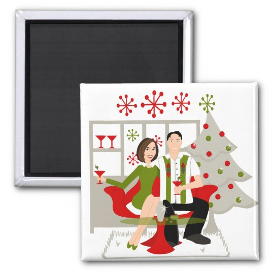 Snazzy Shindig Christmas Square Magnet