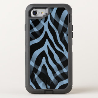 Snazzy Sky Blue Zebra Stripes Print OtterBox Defender iPhone 8/7 Case