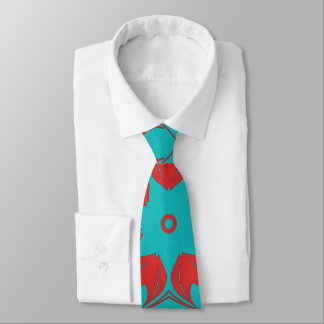 Snazzy Turquoise and Red Flourish Tie