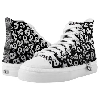 Sneakers type talk with skulls and flowers