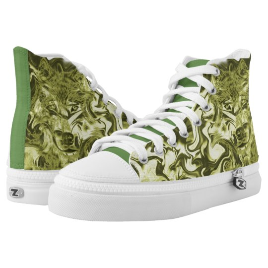 #Sneakers with wolf face for Skater High Tops