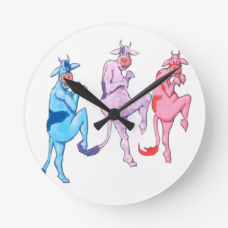 Sneaky Cows Round Clock