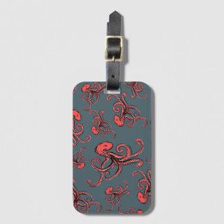 Sneaky Octopus Pattern Luggage Tag