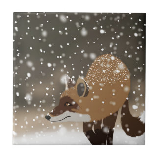 Sneaky smart fox snowy winter forest art small square tile