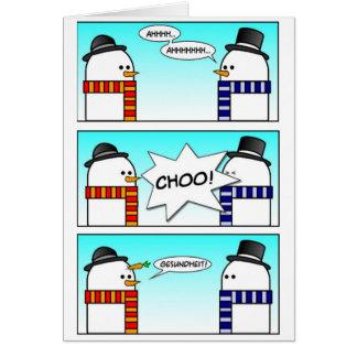 Sneezing Snowman Greeting Card