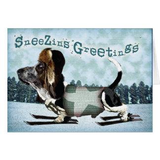 Sneezins Greetings Basset Christmas Greeting Card