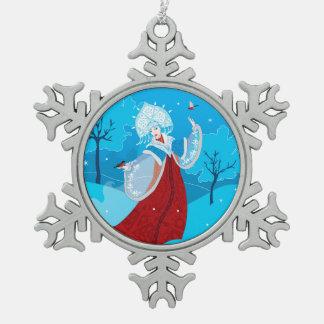 Snegurochka russian style illustration. Snowmaiden Snowflake Pewter Christmas Ornament