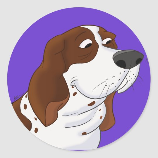 Sniffing Cartoon Basset Hound Round Sticker