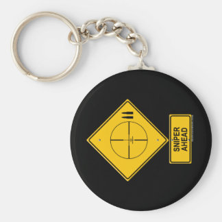 Sniper Ahead Warning Sign Crosshairs Key Chain