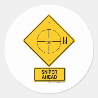 Sniper Ahead Warning Sign Crosshairs Round Sticker