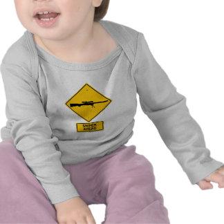 Sniper Ahead Warning Sign T-shirt