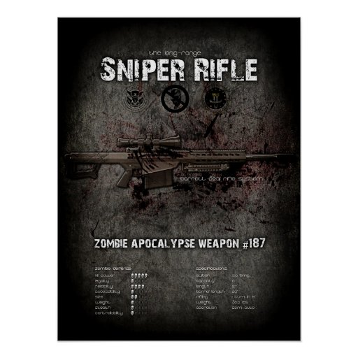 Sniper Rifle .50 Cal Zombie Weapon Poster