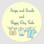 Snips and Snails and Puppy Dog Tails Round Sticker