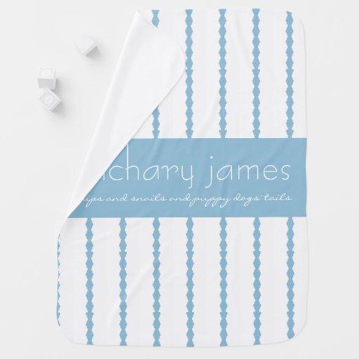 Snips & Snails, Blue/White Monogram Baby Blanket