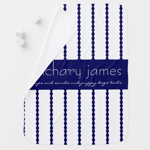 Snips & Snails, Navy Blue/White Monogram Baby Blanket