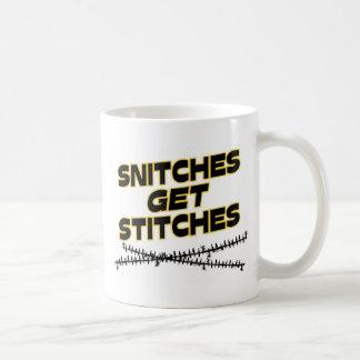 Snitches Get Stitches Basic White Mug