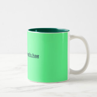 snitches get stitches Two-Tone mug