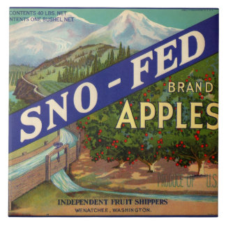 Sno-Fed Apple Crate Label Large Square Tile