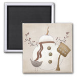 Sno Place Like Home Winter Snowman Design Square Magnet