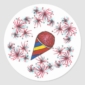 Snocone and Fireworks USA July 4th Fourth Stickers