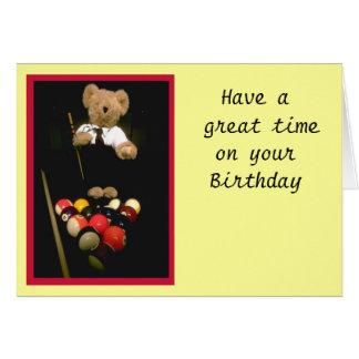 Snooker bear greeting card