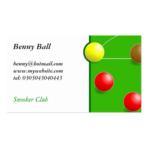 Snooker Business Card Template