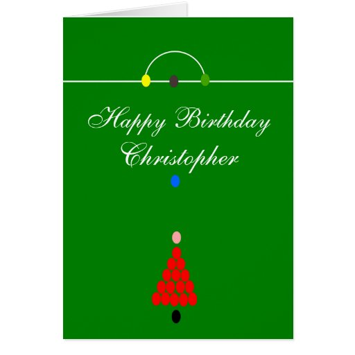 Snooker Table Just Add Name Birthday Greeting Card