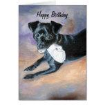 Snoopy Black Rat Terrier Mix Dog Portrait Greeting Card