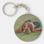 Snoozing Bassett Hound Basic Round Button Key Ring