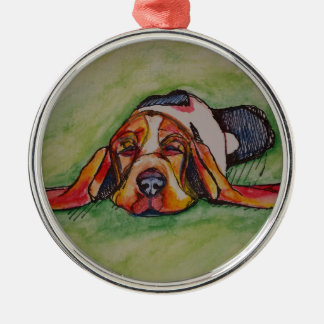 Snoozing Bassett Hound Silver-Colored Round Decoration