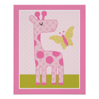 Snoozing Safari/Girl Animals Nursery Art Poster
