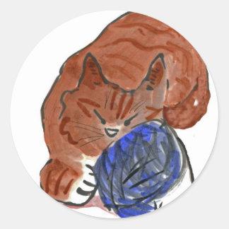 Snoozing tiger Kitten on Yarn Ball Round Sticker