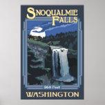 Snoqualmie Falls (Night) Washington Travel Poster