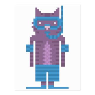 Snorkel Swimmer Cat Pixel Art Postcards