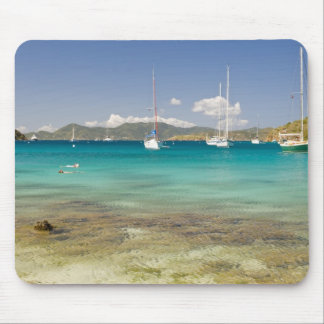 Snorkelers in idyllic Pirates Bight cove, Bight, Mouse Mat