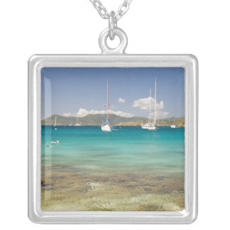 Snorkelers in idyllic Pirates Bight cove, Bight, Silver Plated Necklace