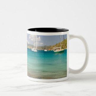 Snorkelers in idyllic Pirates Bight cove, Bight, Two-Tone Coffee Mug