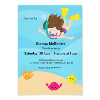 Snorkeling party 13 cm x 18 cm invitation card