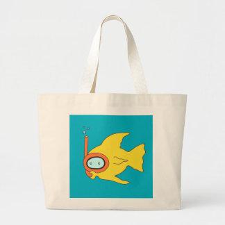 Snorkeling Swimming Yellow Fish Jumbo Tote Bag